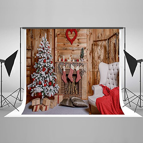 Kate 20ft(W)x10ft(H) Christmas Backdrop Decorations Microfiber Christmas Fireplace Photography Backdrops Xmas Photo Background by Kate