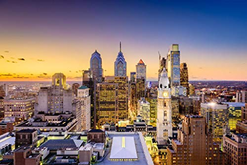 - Philadelphia Pennsylvania Skyline Buildings Sunset Photo Poster 36x24 inch