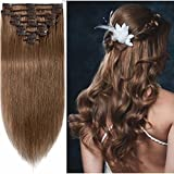 Standard Weft 24 Inch 120g Clip in 100% Real Remy Human Hair Extensions 8 Pieces 18 Clips #6 Light Brown