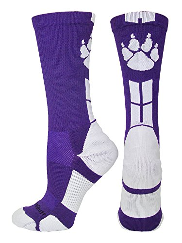 Kids Purple Basketball (MadSportsStuff Wild Paws Crew Socks (Purple/White, Small))