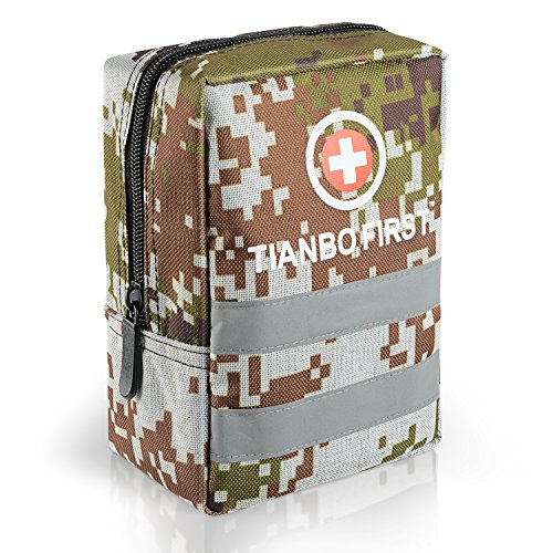 120 Pieces First Aid Kit, Tactical Trauma Kit Reflective Stripe, Ideal Camping, Survival, Hiking, Rescue Camouflage by TIANBO FIRST