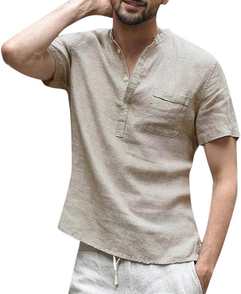 iHAZA pour des Hommes Bouffant Lin Coton Couleur Unie Manche Courte R/étro T-Shirts Hauts Chemisier