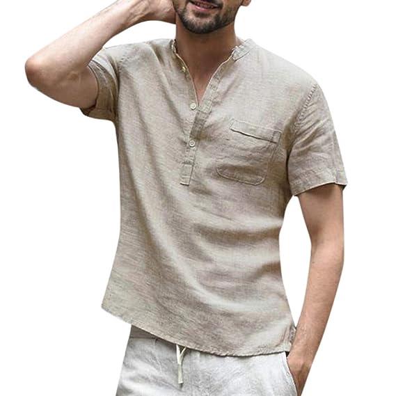 9f30ef1dde0b9 T-Shirt pour Homme Ronamick Couleur Unie Coton et Lin Col Debout sous- Chemise Manches Courtes Chemise Tee Shirt Mode Simple Casual Classique  Blouse Tunique ...
