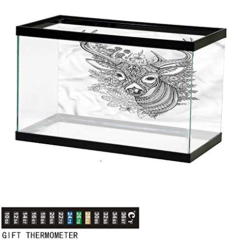 - bybyhome Fish Tank Backdrop Cabin,Detailed Deer Flowers Herbs,Aquarium Background,48