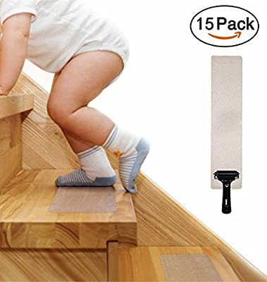 """15-PACK Pre Cut Transparent 24""""x4"""" Anti Slip Clear Tape, Family Safety For Kids, Elders And Pets, Adhesive Stair Treads, Indoor, Outdoor, Prevents Slipping, Easy Installation KIT, PVC-FREE"""