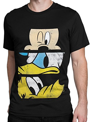 Duck Black T-shirt (Disney Mens' Mickey Mouse Donald Duck Pluto T-Shirt X-Large)