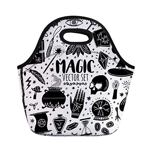 (Semtomn Lunch Tote Bag Witch Magic Doodle Sketch Magician Witchcraft Symbols Wizard Potion Reusable Neoprene Insulated Thermal Outdoor Picnic Lunchbox for Men Women)