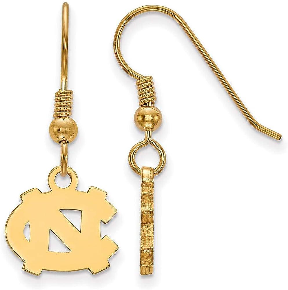 Lex /& Lu LogoArt Sterling Silver w//GP University of North Carolina XS Dangle Earrings