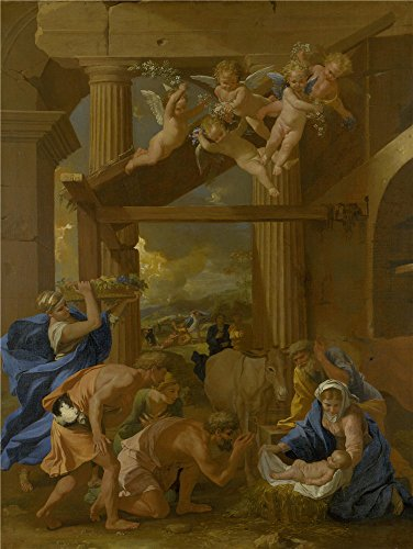 Oil Painting 'Nicolas Poussin The Adoration Of The Shepherds' 10 x 13 inch / 25 x 34 cm , on High Definition HD canvas prints is for Gifts And Basement, Bath Room And Powder Room Decoration