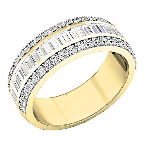 1.60 Carat (ctw) 14K Yellow Gold Round & Baguette Diamond Mens Anniversary Wedding Band (Size 8)
