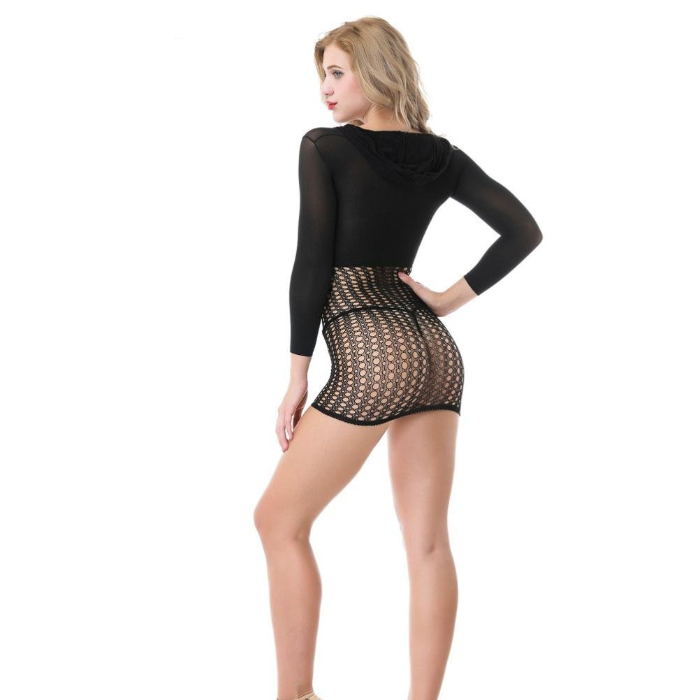 HCFKJ 2018 Mode Damen Dessous Mesh Langarm Kapuzen Paket Hip Fun Rock Nachthemd nahtlos