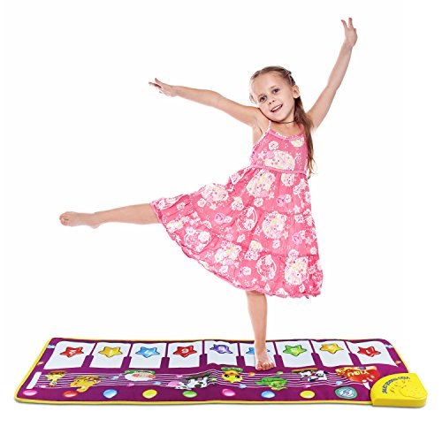 Sanmersen Musical Dance Mat Baby Early Education Music Piano Keyboard Playmat Blanket Touch Play Safety Learn Singing Funny Toy for Kids (Purple) (Pink) - Musical Mat
