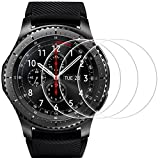 Screen Protector for Samsung Gear S3, Frontier and Classic, AFUNTA 3 Pack Tempered Glass Film Anti-Scratch High Definition Cover for Smartwatch