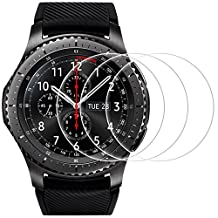 Screen Protector for Samsung Gear S3 Frontier / Classic, AFUNTA 3 Pack Tempered Glass Film Anti-Scratch High Definition Cover for Samsung Galaxy Gear S3 Smart Watch