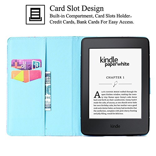 Kindle Paperwhite Case,Artyond PU Leather Card Slot Case [Auto Wake/Sleep] Smart Magnetic Soft TPU Folio Case for Amazon Kindle Paperwhite (Fits All 2012, 2013, 2015 and 2016 Versions) (Cactus)