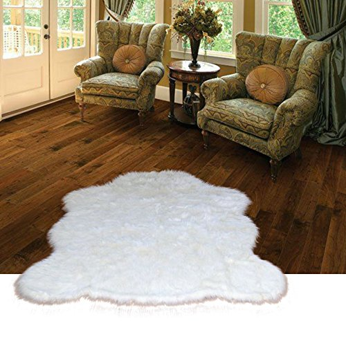 Chubby Bear Skin Faux Fur Area Rug - Natural Warm White Flokati Sheepskin Shag - Soft - Plush - Designer Accent Toss Rug - Fur Accents - USA (4'X5', - Flokati Rug Natural