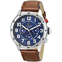 Tommy Hilfiger Men's Quartz Stainless Steel and Leather Casual Watch, Color:Brown (Model: 1791066)