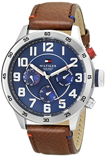- 51Few7IuGrL - Tommy Hilfiger Men's Quartz Stainless Steel and Leather Casual Watch, Color:Brown (Model: 1791066)