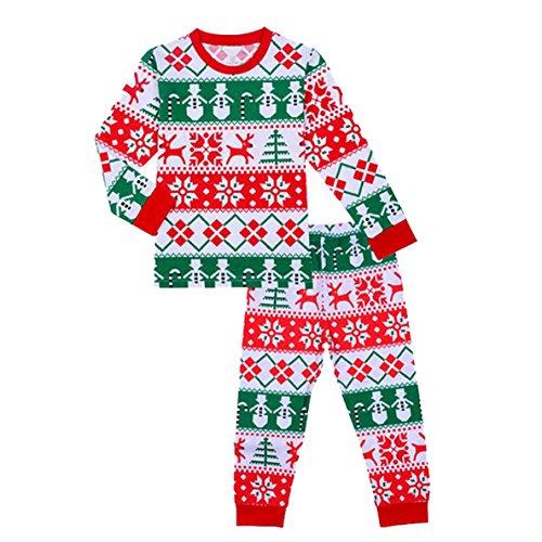 DD-CM Boys Girls Christmas Pajamas Set Cotton Pattern Print Sleepwear PJ 1-2T (Boys Halloween Clothes)