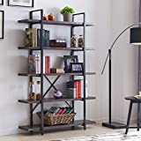 """Homissue 5-Shelf Industrial Bookshelf and Bookcase, Rustic Wood and Metal Bookcases Furniture, 70.0""""H x 47.3""""W x 12.7""""D, Dark Gray"""