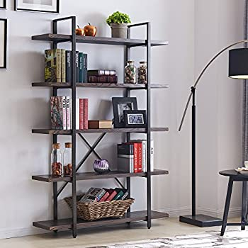 Homissue 5-Shelf Industrial Bookshelf and Bookcase, Rustic Wood and Metal  Bookcases Furniture,