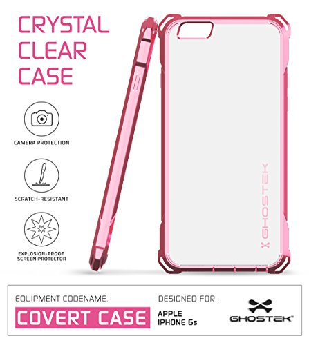 iPhone 6S Case, Ghostek Covert Series for Apple iPhone 6 & 6S Premium Impact Protective Armor Case Cover | Clear TPU | Explosion-Proof Screen Protector | Ultra Fit (Rose Pink)