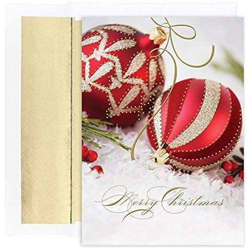 Masterpiece Studios Holiday Collection 18 Cards / 18 Foil Lined Envelopes, Red & Gold Ornaments