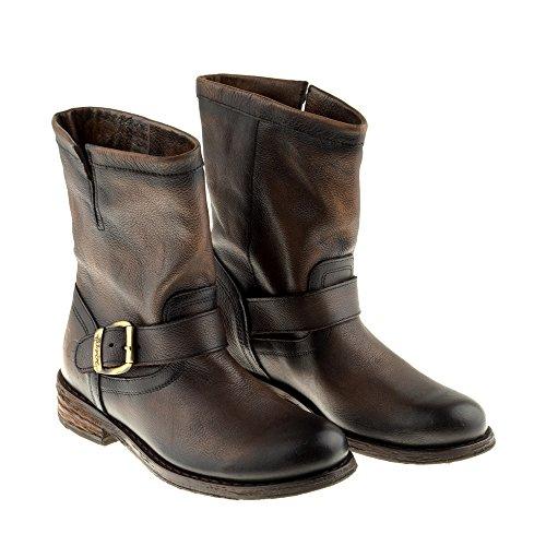 Felmini Zapatos Para Mujer - Enamorarse com Gredo 7176 - Botas Classic - Cuero Genuino - Marrón Oscuro Marrón oscuro