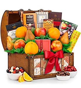 GiftTree Fresh Fruit and Gourmet Delight Gift Keepsake Trunk | Includes Pears, Apples, Fresh Juicy Oranges, Rich Chocolate, And More | A Sweet Gift For The Holidays