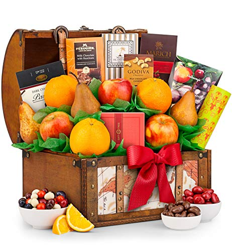 (GiftTree Fresh Fruit and Gourmet Treasure Gift Basket | Includes Pears, Apples, Fresh Juicy Oranges, Rich Chocolate & More | Reusable Keepsake Trunk | Birthday, Anniversary or Thank You)