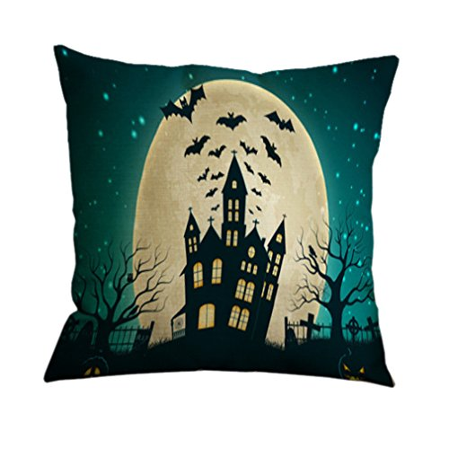 Nunubee Cotton Linen Pillow Covers 18 x 18 Pillowcases Throw Pillows Case For Sofa Witch Halloween