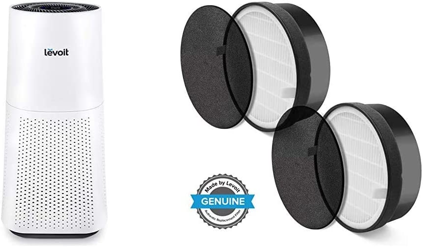 LEVOIT Air Purifier for Home Large Room with H13 True HEPA Filter & LV-H132 Air Purifier Replacement Filter, 3-in-1 Nylon Pre-Filter, True HEPA Filter, Activated Carbon Filter, 2 Pack,Black