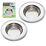 Bathroom Sink Replace Drain Pipe 2PCS Stainless-Steel Kitchen Sink Strainer - Large Wide Rim 4.5