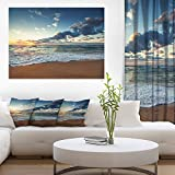 Design Art Sunrise and Glowing Waves in Ocean Seashore Canvas Wall Art, 40x30'', Blue