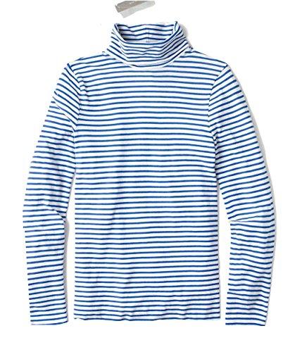 J. Crew - Women's Slim Fit - Striped 100% Cotton Tissue Turtleneck Tee (Small, Blue & White) from J.Crew