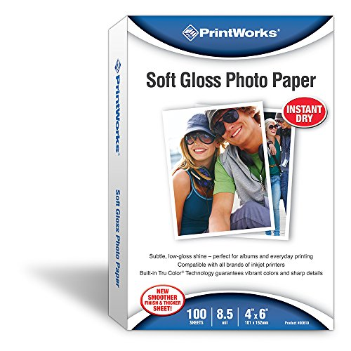 - Printworks Gloss Photo Paper for Inkjet Printers, 8.5 mil, 100 Sheets, 4