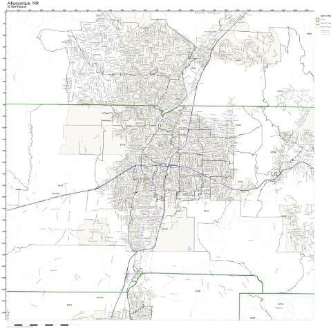 Amazon Com Albuquerque Nm Zip Code Map Laminated Home Kitchen