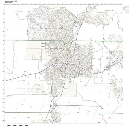 Amazon Com Albuquerque Nm Zip Code Map Laminated Home Kitchen