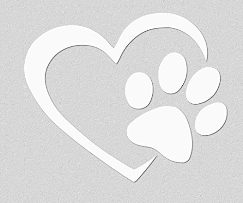 ViaVinyl Dog Paw Heart Decal for dog and animal lovers. For car and truck windows, laptops and Macbooks, iPads and Tablets, iPhones and cell phones, Yeti and Rtic tumbler cups, and more! (Decorative Stickers Car Sticker)
