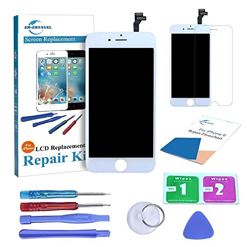 Qi-Eu LCD Display for iPhone 6 Touch Screen Digitizer Replacement Full Assembly - White, Repair Tools Kit and Instructions are Included (6 Replacement Iphone Full Screen)