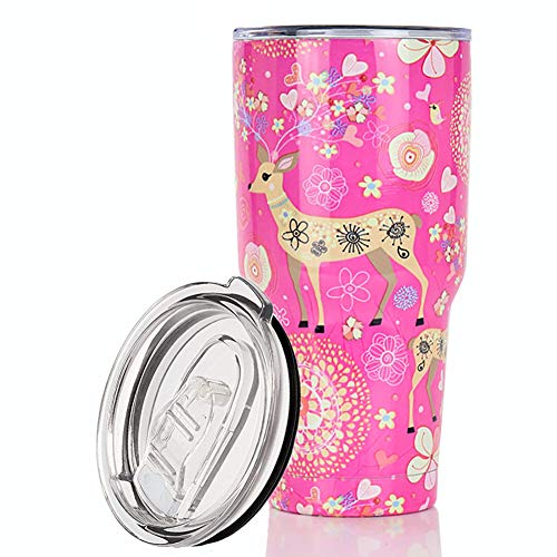 Yoelike 30 oz Stainless Steel Vacuum Insulated Tumbler with BPA Free Sliding-In Lid - 25 Pattern Design Double Wall Travel Mug Coffee Water Cup for Ice Drink & Hot Beverage (Deer Pink, 30 OZ)