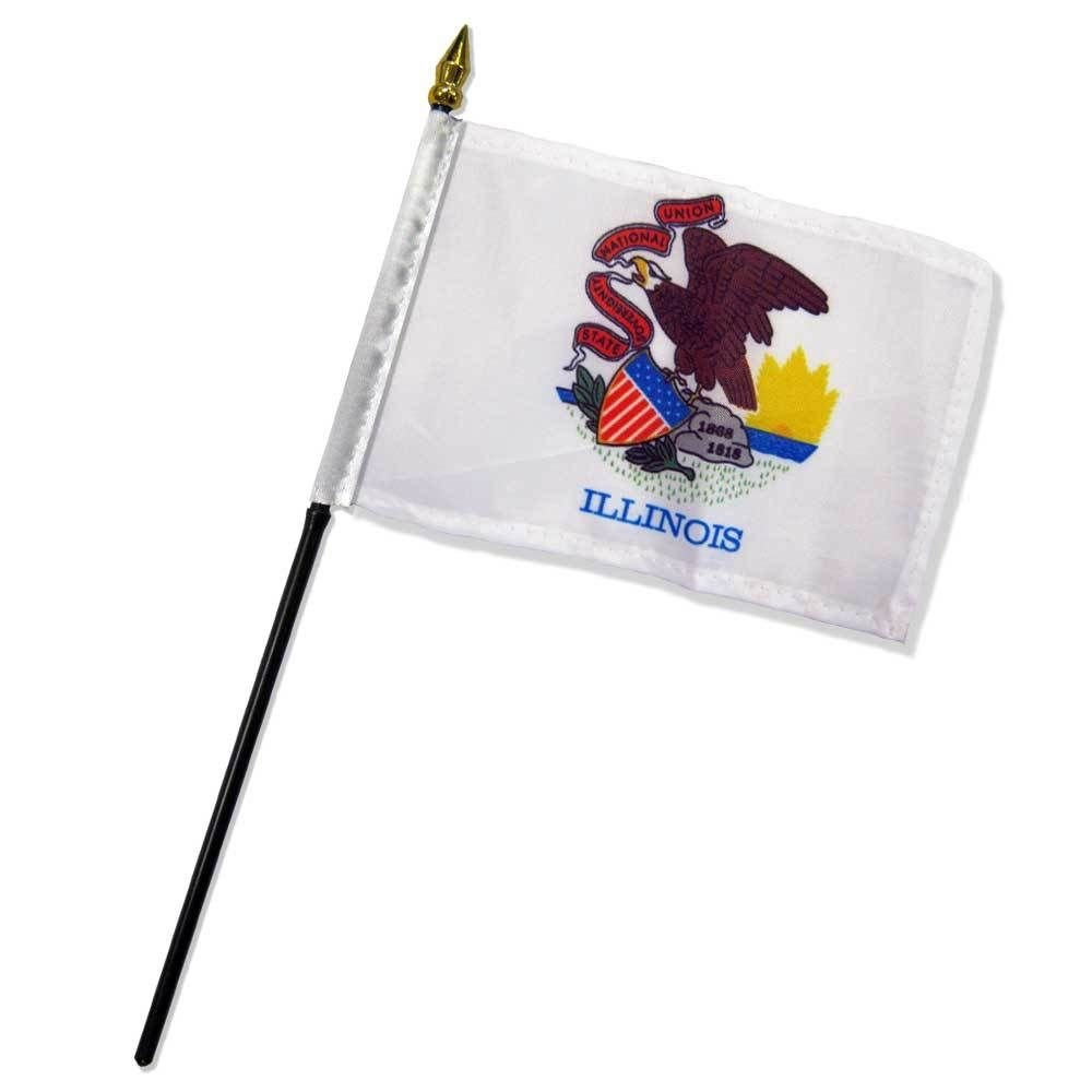 """4x6 inch Illinois Table Desk flag mounted on a 10 inch Black Plastic stick staff (Super Polyester) cloth Fabric (Sewn Edges for Durability) 4""""x6"""" 4inch x 6inch"""