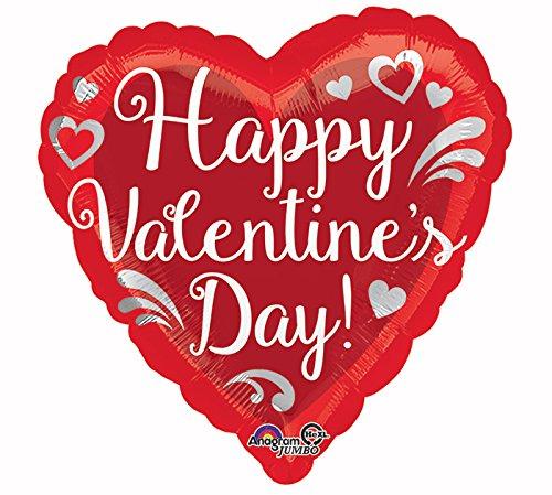 """Burton & Burton 28"""" Happy Valentines Day Fancy Swirls Heart Foil Balloon"""