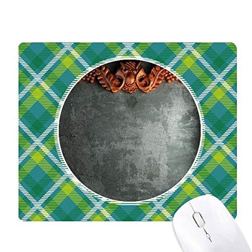 - Grey Cement Mahogany Ornament Pattern Green Lattices Grid Pixel Mouse Pad