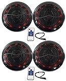 (4) Rockville RMC80LB 8'' 800w Black Marine Speakers w Multi Color LED + Remote