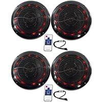 (2) Pairs of Rockville RMC80LB 8 2-Way Marine Speakers Totaling 1600 Watt With LED Lighting And Remote