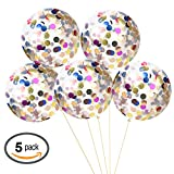 """36"""" Jumbo Confetti Balloons AOSTAR 5 Pack Clear Balloons with Multicolor Confetti for Wedding, Proposal, Birthday Party Decorations"""