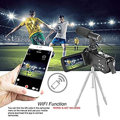 Camcorder Digital Video Camera, WiFi Vlog Camera Camcorder with Microphone IR Night Vision Full HD 1080P 30FPS 3'' LCD Touch Screen Vlogging Camera for YouTube with Remote Control