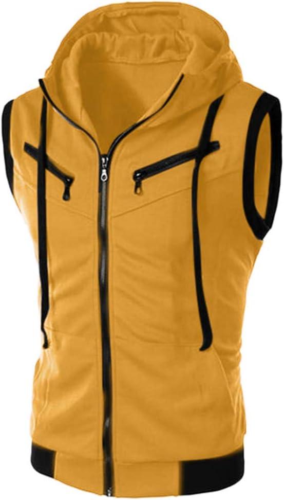 AG&T Color sólido Cremallera Manga Corta con Capucha Camiseta Hombres,Camiseta con Capucha Deportes para Hombre,Sudaderas para Hombre Tops Camisa sin Mangas de Verano Fitness: Amazon.es: Deportes y aire libre
