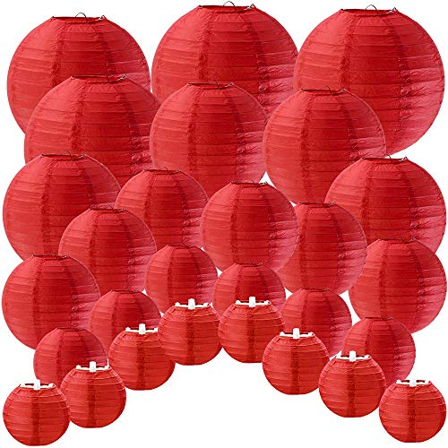 Supla 28 Pcs 5 Sizes Chinese New Year Decorative Red Paper Lanterns Hanging Chinese Japanese Lanterns Round Party Lanterns for Spring Festival Holiday Season Decorations -